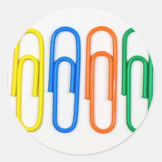 diseño del clip de papel pegatina redonda