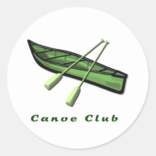 Diseño del club de la canoa pegatina redonda