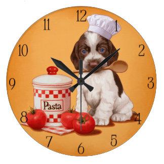 Diseño del cocinero de cocker spaniel reloj redondo grande