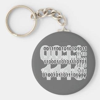 diseño del código binario llavero redondo tipo pin