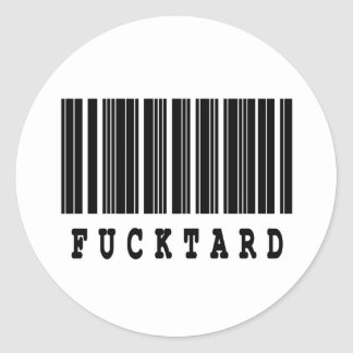 diseño del código de barras del fucktard etiquetas redondas