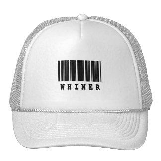 diseño del código de barras del whiner gorra