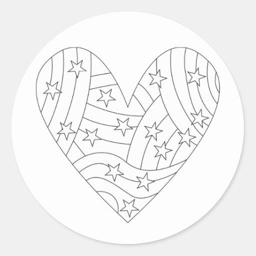 Diseño del colorante del corazón pegatina redonda