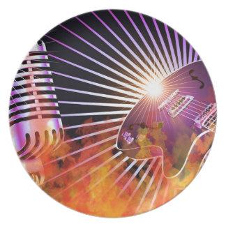 Diseño del concierto de la música con la guitarra platos de comidas