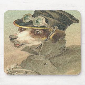 Diseño del conductor del perro del vintage tapetes de ratones