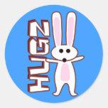 Diseño del conejito etiquetas redondas