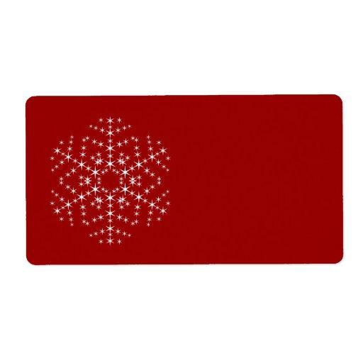 Diseño del copo de nieve en rojo oscuro y blanco etiquetas de envío