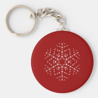 Diseño del copo de nieve en rojo oscuro y blanco llavero redondo tipo pin
