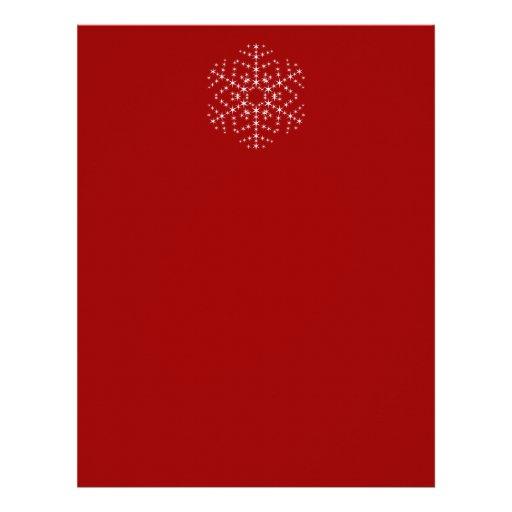 Diseño del copo de nieve en rojo oscuro y blanco plantillas de membrete