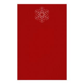 Diseño del copo de nieve en rojo oscuro y blanco papeleria