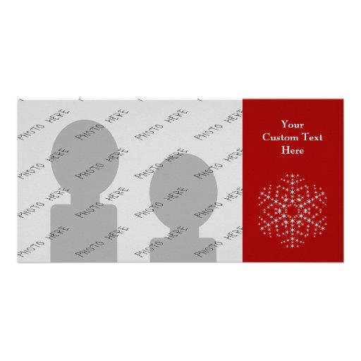 Diseño del copo de nieve en rojo oscuro y blanco tarjetas fotográficas personalizadas