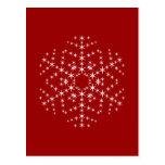 Diseño del copo de nieve en rojo oscuro y blanco postal