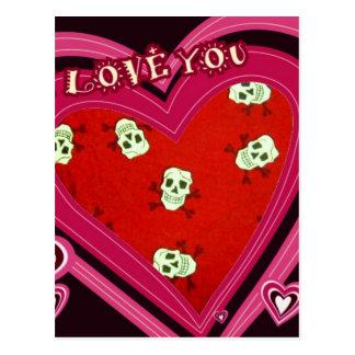 Diseño del corazón de los cráneos postales