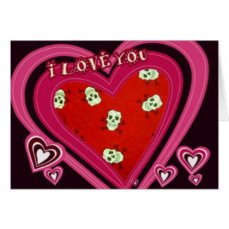 Diseño del corazón de los cráneos tarjeta de felicitación