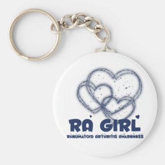 Diseño del corazón del chica del RA:: Artritis reu Llavero Redondo Tipo Pin