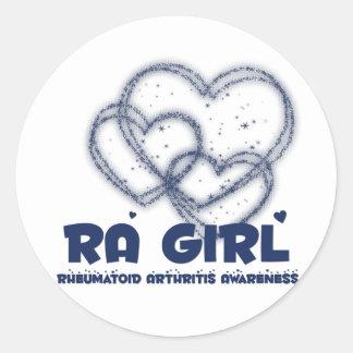 Diseño del corazón del chica del RA Artritis reu Etiquetas Redondas