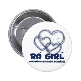 Diseño del corazón del chica del RA:: Artritis reu Pin Redondo 5 Cm