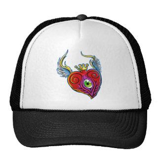Diseño del corazón del globo del ojo del vuelo gorros