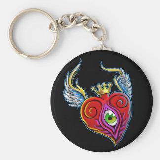 Diseño del corazón del globo del ojo del vuelo llavero personalizado