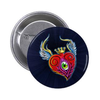 Diseño del corazón del globo del ojo del vuelo pins