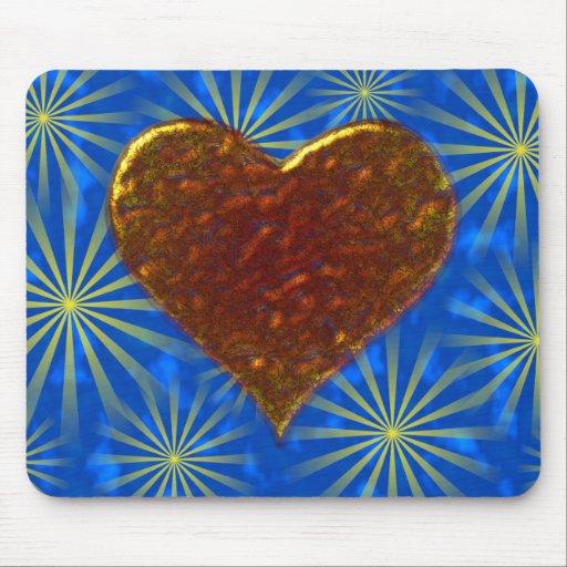 Diseño del corazón del metal fundido tapete de ratón
