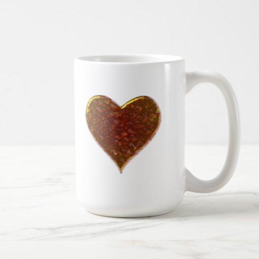 Diseño del corazón del metal fundido tazas de café