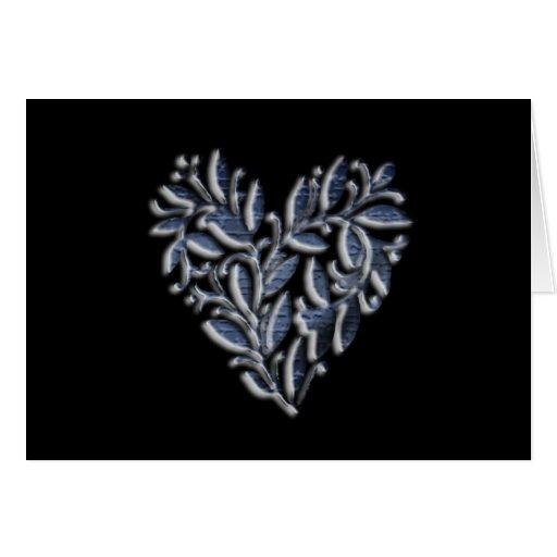 Diseño del corazón en azul tarjeta de felicitación