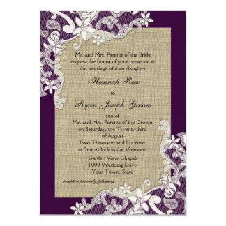 Diseño del cordón del país del vintage y púrpura comunicados personalizados