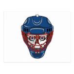 diseño del cráneo de la máscara del portero del postal