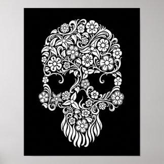 Diseño del cráneo de las flores blancas y de las v póster