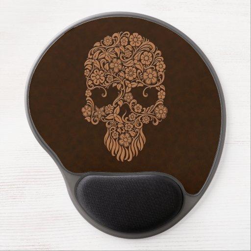Diseño del cráneo de las flores y de las vides de  alfombrilla de raton con gel