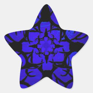 Diseño del cráneo de los ciervos en azul pegatina en forma de estrella