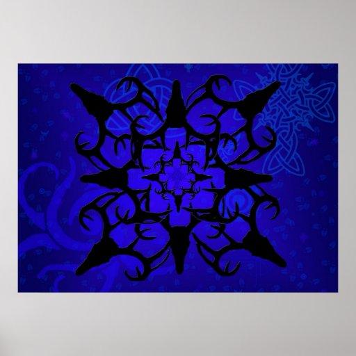 Diseño del cráneo de los ciervos en azul y negro impresiones