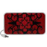 Diseño del cráneo de los ciervos en negro y rojo laptop altavoz