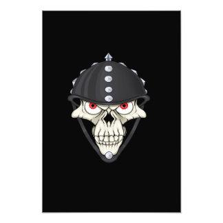 Diseño del cráneo del casco del motorista para los impresion fotografica