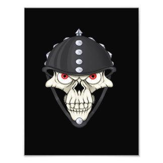 Diseño del cráneo del casco del motorista para los impresión fotográfica