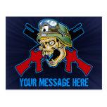 Diseño del cráneo del soldado tarjetas postales
