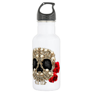 Diseño del cráneo - pirámide de cráneos y de rosas botella de agua