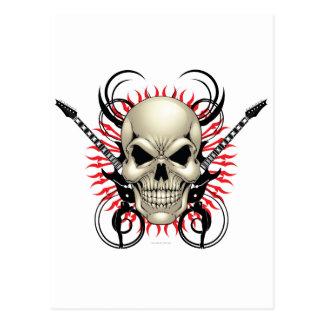 Diseño del cráneo y de las guitarras del metal postal