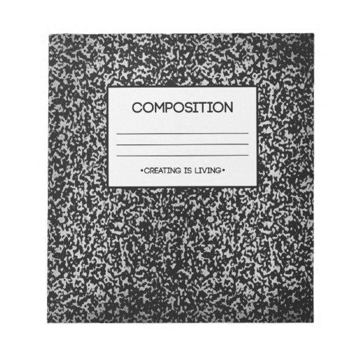 Diseño del cuaderno de la composición bloc de notas