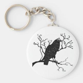 Diseño del cuervo llavero redondo tipo pin