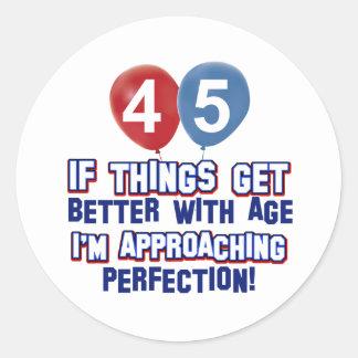 diseño del cumpleaños de 45 años pegatina redonda