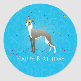 Diseño del cumpleaños del galgo italiano pegatina redonda