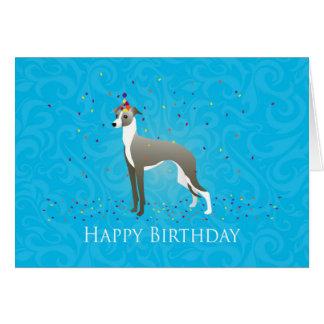 Diseño del cumpleaños del galgo italiano tarjeta de felicitación