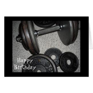Diseño del cumpleaños del levantamiento de pesas tarjeta pequeña