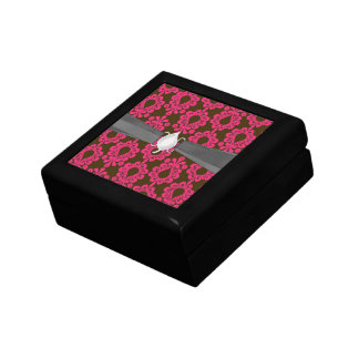 diseño del damasco de las rosas fuertes y del marr cajas de regalo
