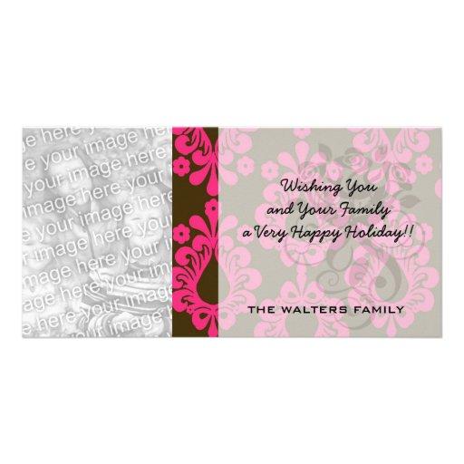 diseño del damasco de las rosas fuertes y del marr tarjetas fotográficas personalizadas