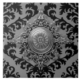 Diseño del damasco, medallón afiligranado azulejo cuadrado grande