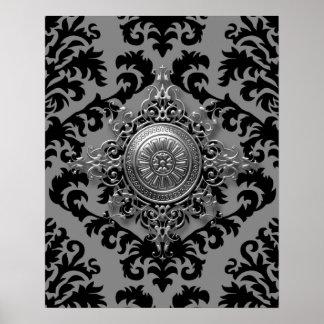 Diseño del damasco, medallón afiligranado poster