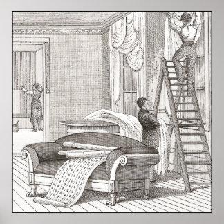 Diseño del decorador de interiores del vintage de  póster